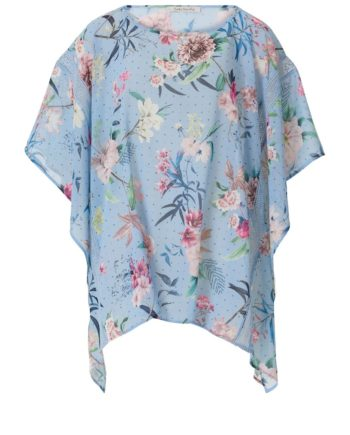 Basic-Poncho mit Spitzeneinsatz Betty Barclay Light Blue/Cream - Blau