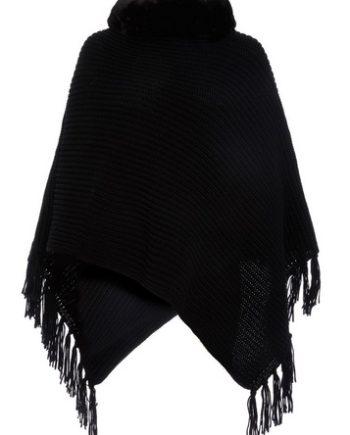*Quiz Black Faux Fur Trim Poncho
