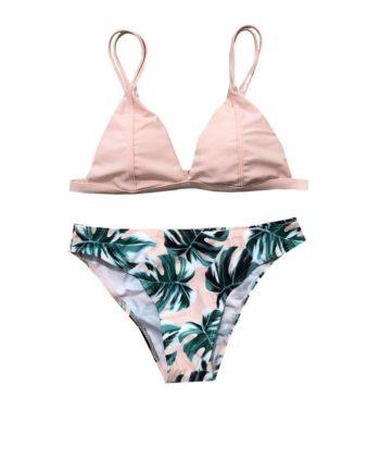 2018 Euramerican Bikini Green Leaf Printed Swimsuit Two Sets of Swimming Suit