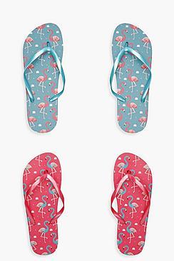 2er-Pack Flip-Flops mit Flamingomuster