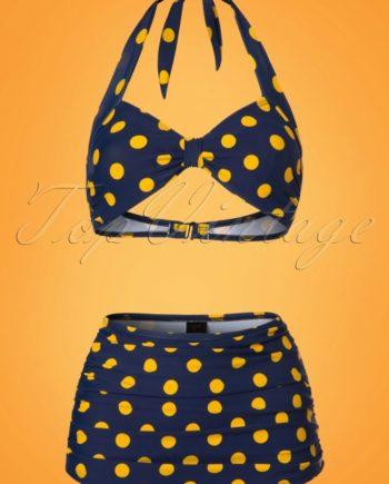 50s Classic Polkadot Bikini Pants in Navy and Yellow