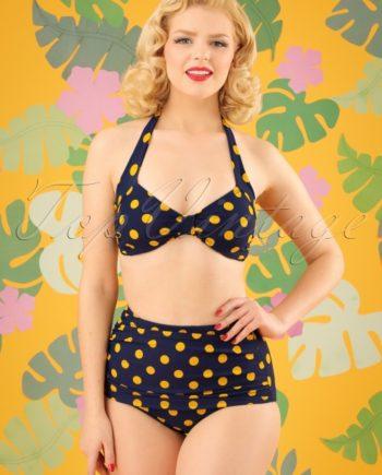 50s Classic Polkadot Bikini Top in Navy and Yellow