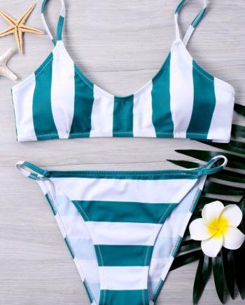 Adjustable Cami Strap Striped Bikini