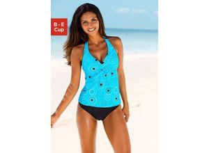 Beachwear Bügel-Tankini mit schönem Druckdesign, blau, S.OLIVER RED LABEL, Damen, Material: Polyamid, Elasthan