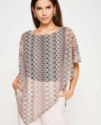 COMMA Kurzarm-Strickpullover im Poncho-Look