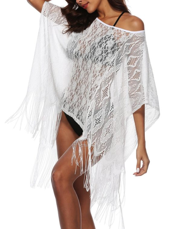 Fringed Sheer Lace Poncho Beach Cover Up