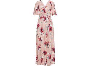 Langes Sommerkleid aus Jersey kurzer Arm in rosa von bonprix