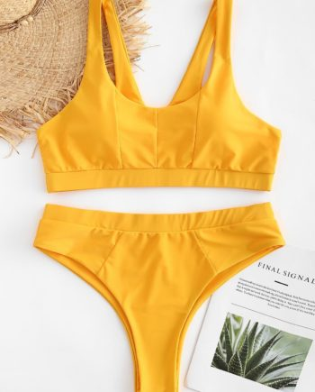 Plus Size High Waisted Padded Bikini Set