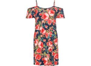 Sommerkleid aus Jersey mit Cut-Outs kurzer Arm in blau von bonprix