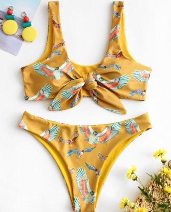 ZAFUL Eagles Print Tie Front Bikini Set