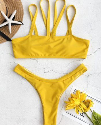 ZAFUL Strappy High Leg Bikini Set