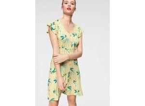 AJC Sommerkleid mit Knöpfen verziert und schönem Zitronen-Print, gelb