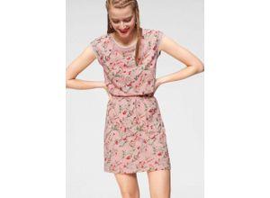 AJC Sommerkleid mit kontrastfarbenen Abschlüssen an Ausschnitt uns Ärmeln, rosa