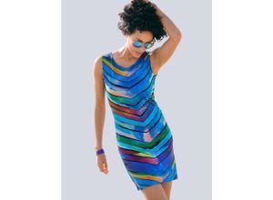 Alba Moda Gestreiftes Strandkleid in Etuiform, blau