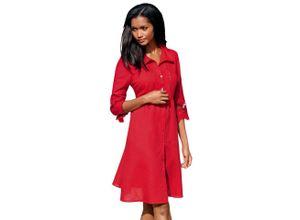 Alba Moda Strandkleid Kleid mit Leinenanteil, rot