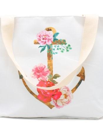 Anker Flower Print Strandtasche Henkeltasche