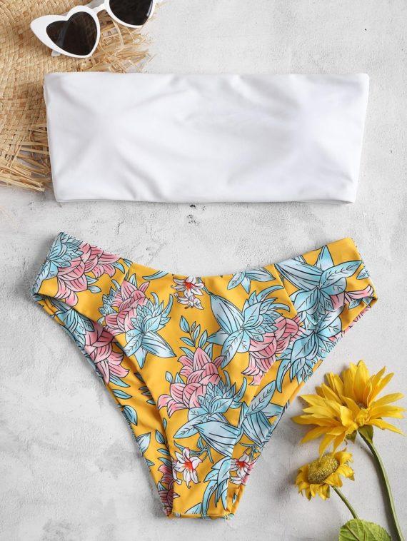 Bandeau Floral Print Bikini Set