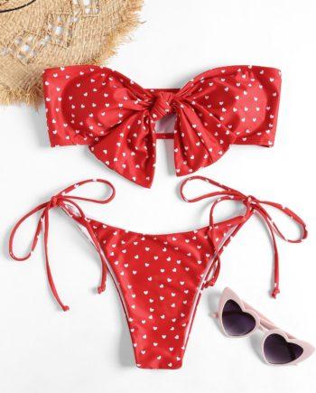 Bandeau Heart Bowknot Bikini Set