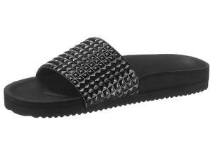 Flip Flop Pantolette in Metallic-Optik, schwarz