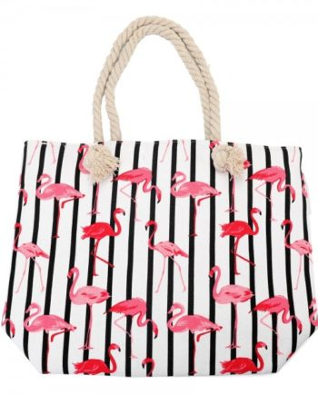 Henkeltasche Streifen Flamingo Print Strandtasche
