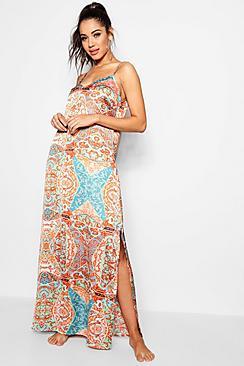 - Maxi-Strandkleid mit Schaldruck und tiefem Ausschnitt