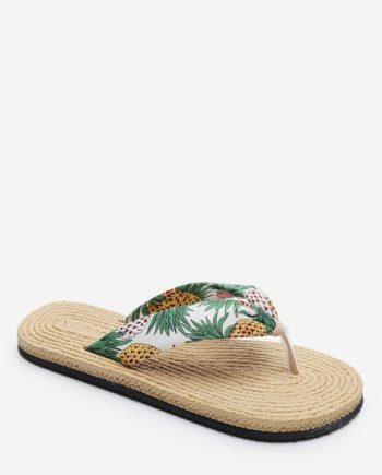 Open Toe Pineapple Print Flat Flip Flops