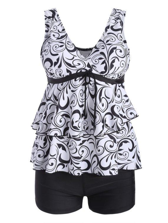 Plus Size Flounce Printed Tankini Swimwear