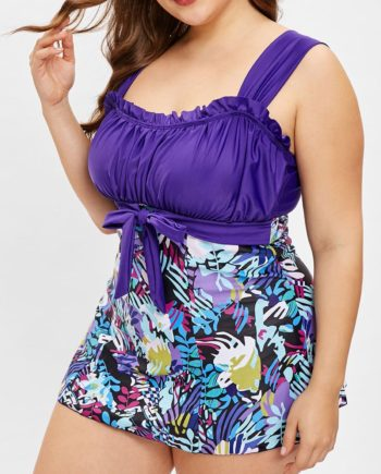 Plus Size Ruched Leaves Print Tankini Set