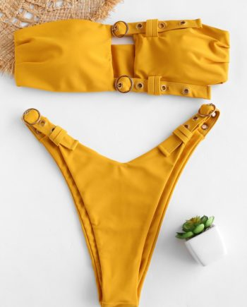 ZAFUL Buckled Cutout Bandeau Bikini Set