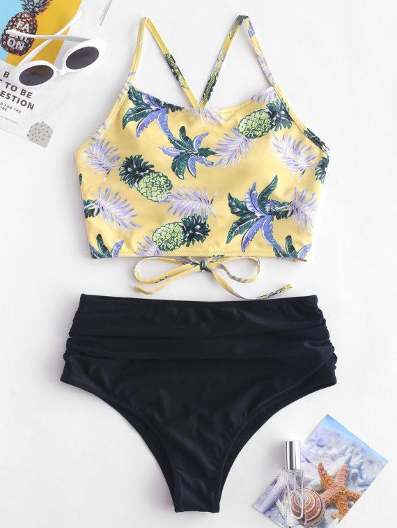 ZAFUL Pineapple Ruched High Waisted Tankini Set