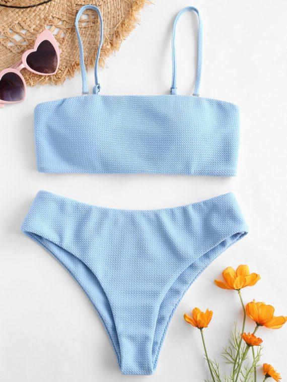 ZAFUL Textured Bandeau Bikini Set