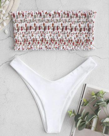 ZAFUL Tiny Floral Shirred Bandeau Bikini Set