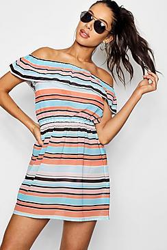 - sommerliches, gestreiftes, schulterfreies Strandkleid