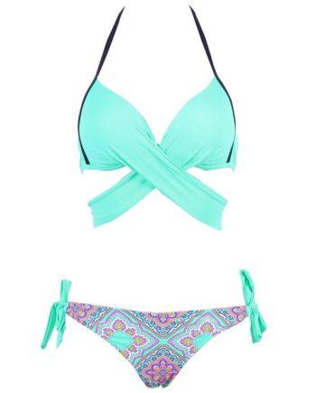 2018 Sexy Bikini Women Swimwear Cross Bandage Halter Bikini Set Beach Bathing Suit