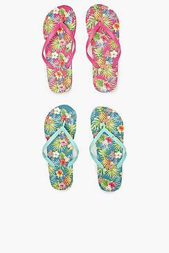 2er-Pack Flip-Flops mit Ananas-Blumenmuster