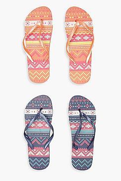 2er-Pack Flip-Flops mit Aztekenmuster