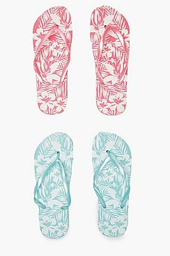 2er-Pack Flip-Flops mit Blatt-Print