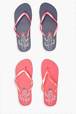 2er-Pack Flip-Flops mit Kaktus-Print