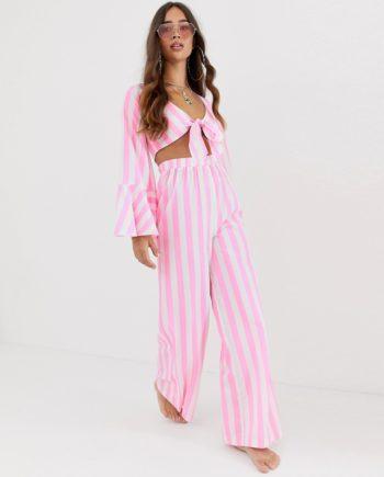 ASOS DESIGN wide - Strandhose mit weitem Bein in Rosa gestreift