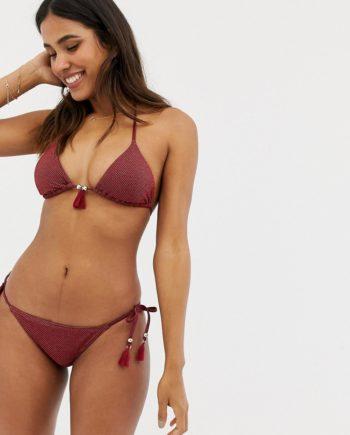 Accessorize - Seitlich geschnürte Bikinihose mit Glitzerfäden in Zimt - Kupfer