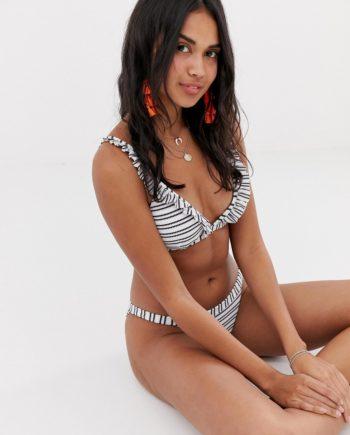 Accessorize - Gestreifte Tanga-Bikinihose mit Rüschen - Mehrfarbig