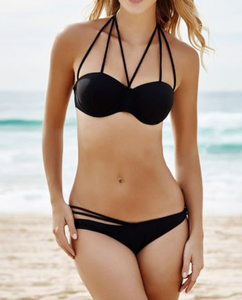 Alluring Halterneck Bandage Solid Color Women's Bikini Set