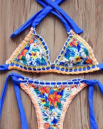 Alluring Women's Halter Floral Print Crochet Bikini Set