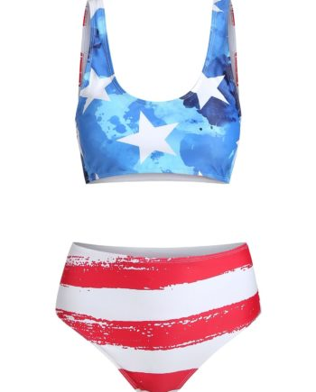 American Flag Tank Bikini Set