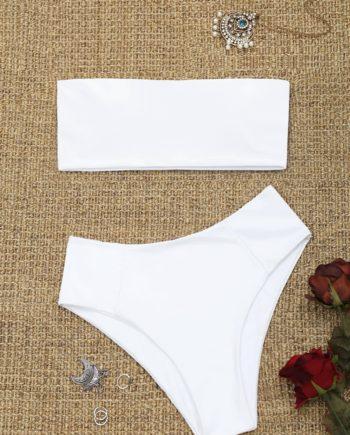 Bandeau Collar High Cut Bikini Set