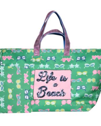 Cute Stuff Strandtasche in Grün''Life is a Beach''