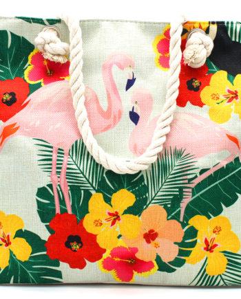 Flamingo Flower Print Strandtasche Henkeltasche
