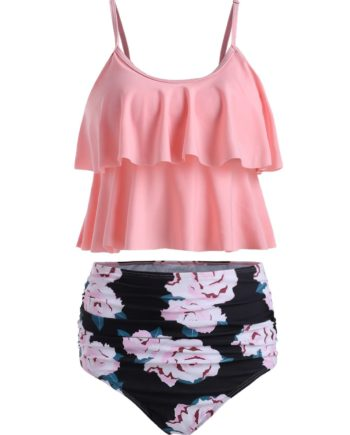 Ruched Floral Print Overlay Tankini Set