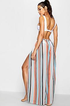 - sommerliche, gestreifte Strandhose mit Schlitz am Bein