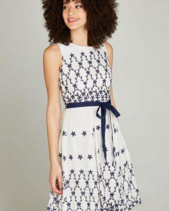 Apricot Sommerkleid Embroidered Flower Border Dress